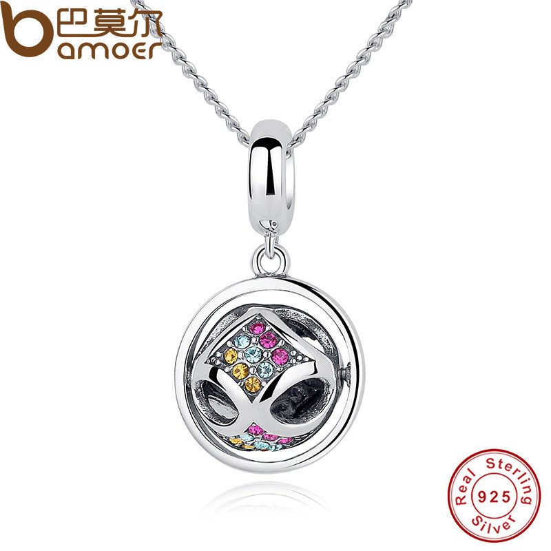 BAMOER Authentic 925 Sterling Silver Colorful Crystal Pendant Necklace - All Things Jewelry