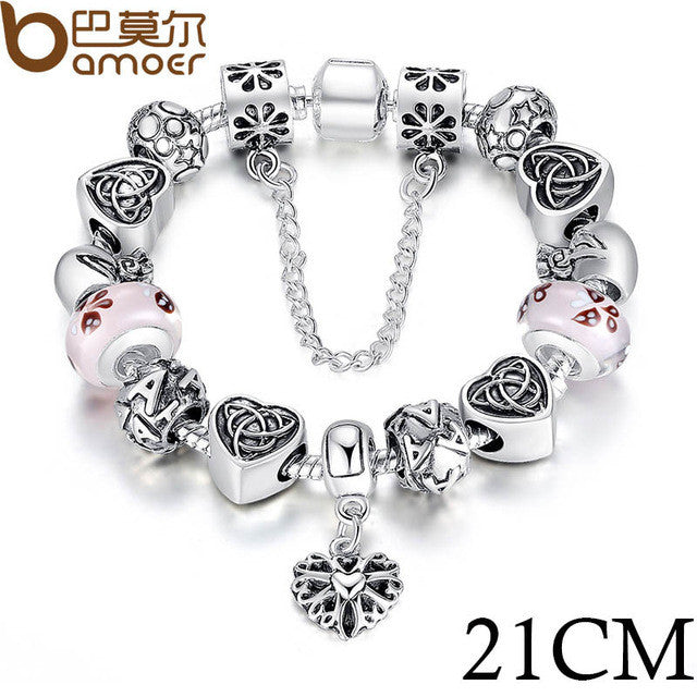 BAMOER European Charm Bracelet With Heart Letter Beads - All Things Jewelry