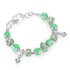 Silver Charm Bracelet With Glass Beads - All Things Jewelry