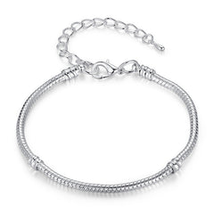 BAMOER European Silver Snake Chain Charm Bracelet with Barrel Clasp - All Things Jewelry