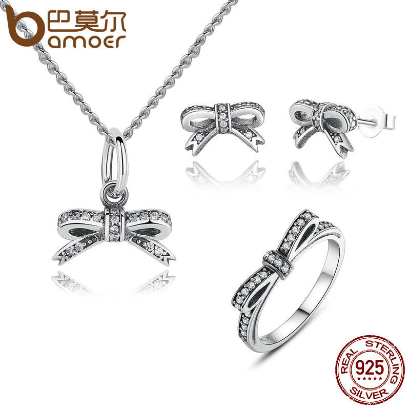 BAMOER Authentic 925 Sterling Silver Sparkling Bow Knot Sets Sterling Silver Necklace Earrings And Ring - All Things Jewelry