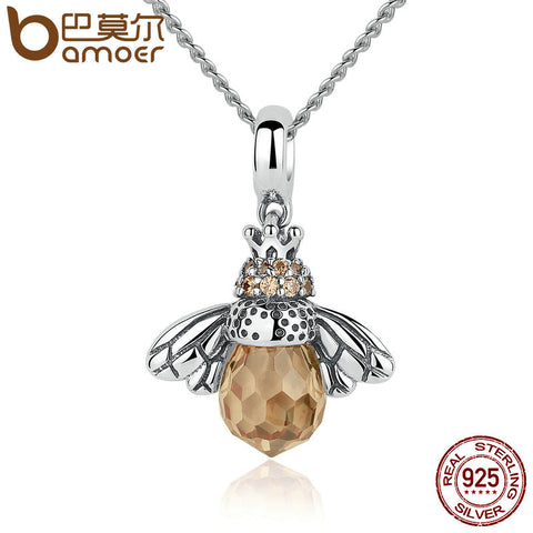 BAMOER 925 Sterling Silver Lovely Orange Bee Animal Pendants Necklace - All Things Jewelry
