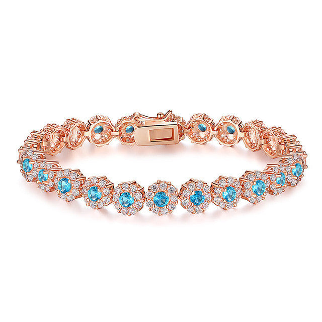 BAMOER Rose Gold Color Chain Link Bracelet - All Things Jewelry