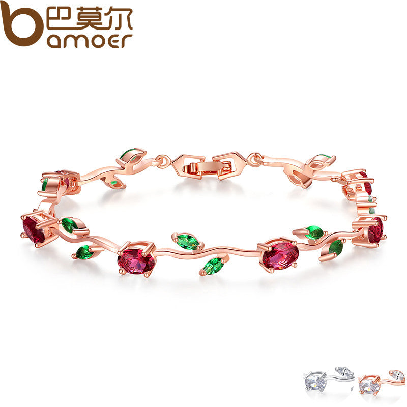 BAMOER  Rose Gold Color Leaf Chain & Link Bracelet with Red + Green AAA Zircon - All Things Jewelry