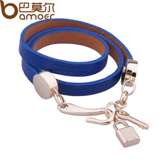 BAMOER Luxury Gold Color Genuine Leather Bracelet Three Circle - All Things Jewelry