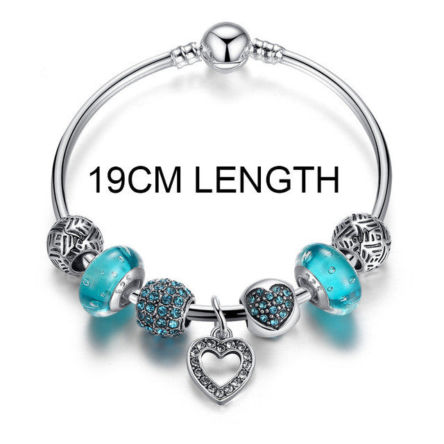BAMOER Simple Friendship Silver Color Heart Charm Bracelet - All Things Jewelry