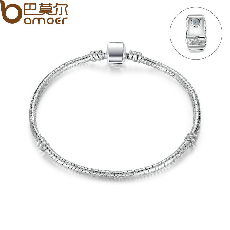 BAMOER High Quality Silver Color Basic Snake Chain Magnet Clasp for Charm Bracelet - All Things Jewelry
