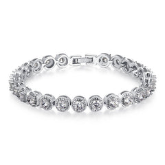 BAMOER Princess Cut Chain & Link Bracelet with AAA Cubic Zircon - All Things Jewelry