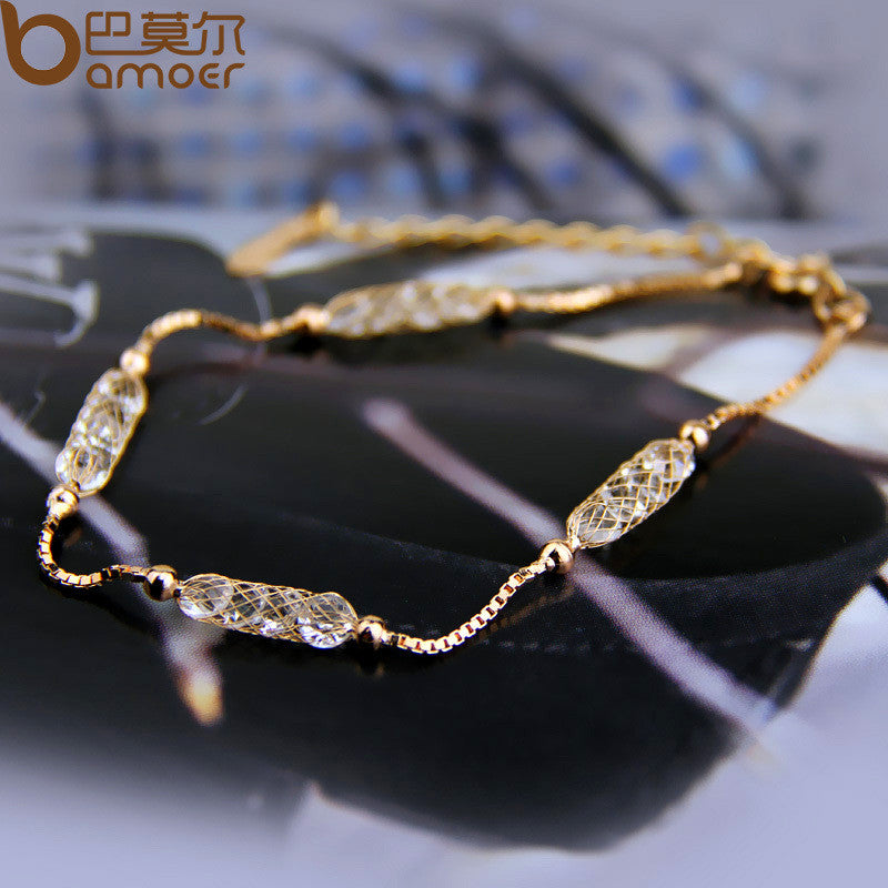 BAMOER High Quality Luxury Bracelet Champagne Gold Color with Crystal Jewelry - All Things Jewelry