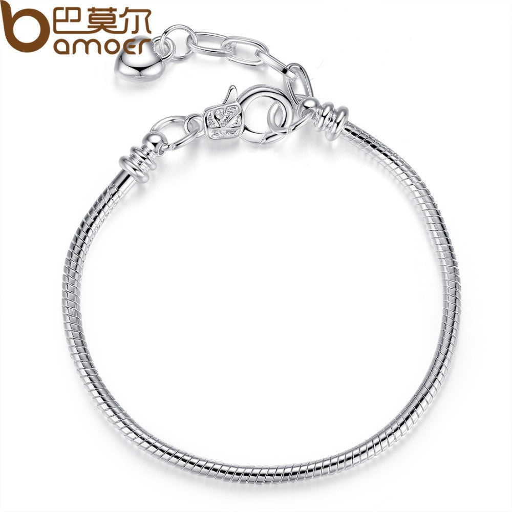 BAMOER European Silver Color + Copper Heart Chain Bracelet Adjustable fit for Bead Charms 18.5-21CM PA9002 - All Things Jewelry