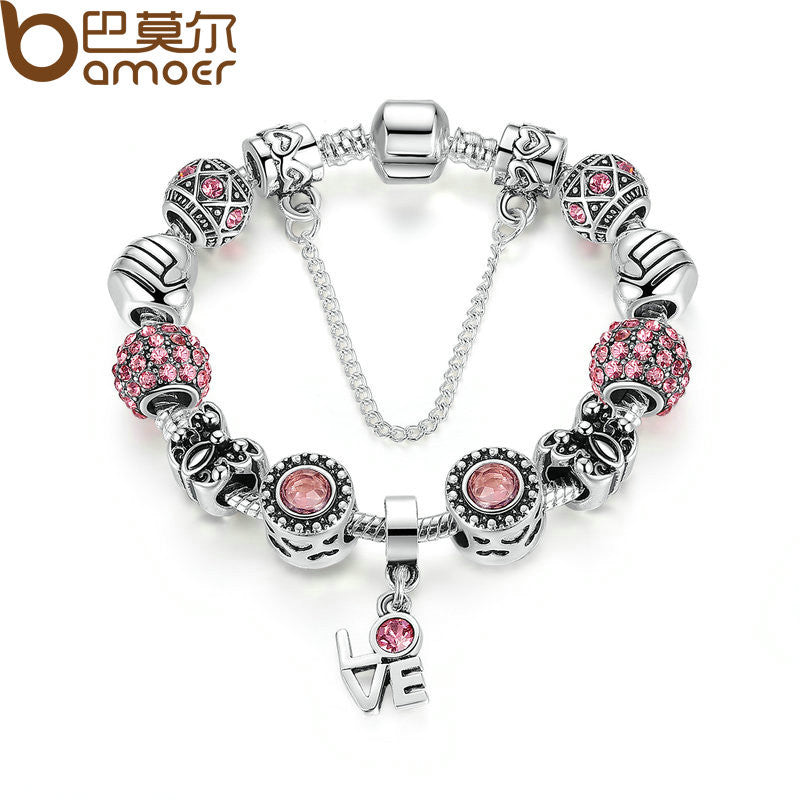 BAMOER Silver Color European Pink Zircon Friendship Charm Bracelet - All Things Jewelry