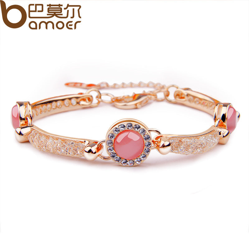 Bmaoer Luxury Rose Gold Color Bracelet with Red Opal AAA Zircon Crystal - All Things Jewelry