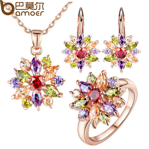 BAMOER Rose Gold Color Jewelry Sets for Women with High Quality Multicolor AAA Zircon - All Things Jewelry