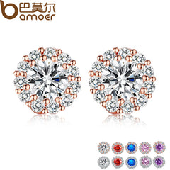 BAMOER Fashion  Gold Color 5 Color Round Crystals Stud Earrings with AAA Zircon - All Things Jewelry