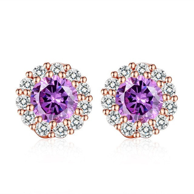 BAMOER 10 Colors Romantic Gold Color Round Stud Earrings with AAA Zircon - All Things Jewelry