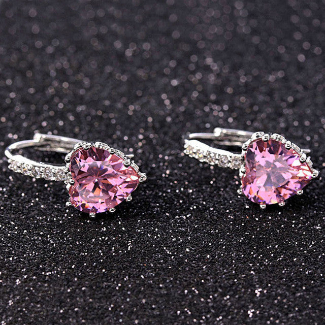 Silver Color Color Stone Heart Shape Elegant AAA Zircon Stud Earrings - All Things Jewelry