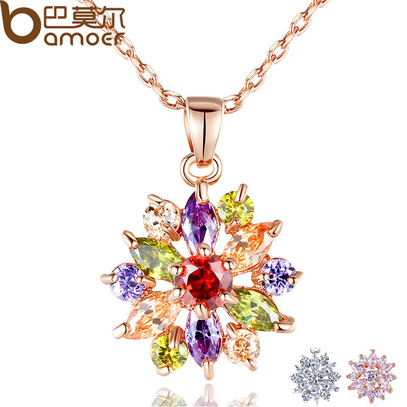 BAMOER  Rose Gold Color Necklaces Pendants with Multi Color AAA Cubic Zircon - All Things Jewelry