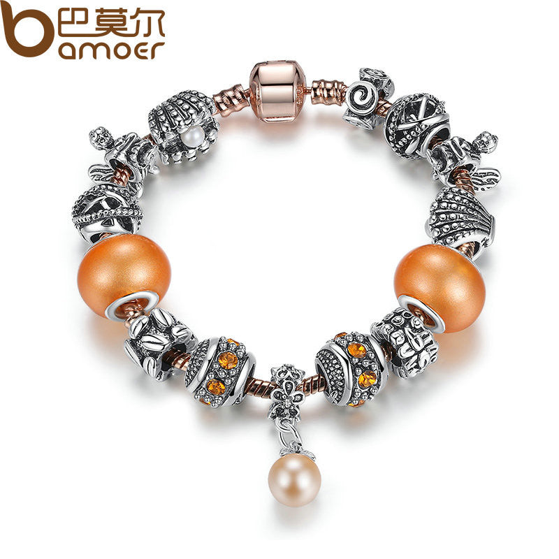 BAMOER Friendship Orange Silver Color Charm Bracelets - All Things Jewelry