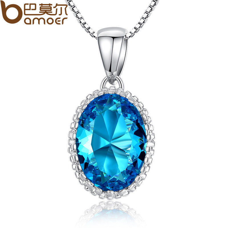 BAMOER Hotsale High Quality Blue Stone Women Silver Color Necklace Adjustable Chains For Gift YIN052 - All Things Jewelry