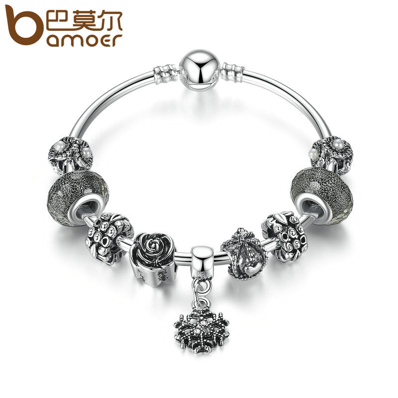 BAMOER Vintage Silver Color Snowflake Pendant High Quality Black Murano Beads Charm Bracelet - All Things Jewelry
