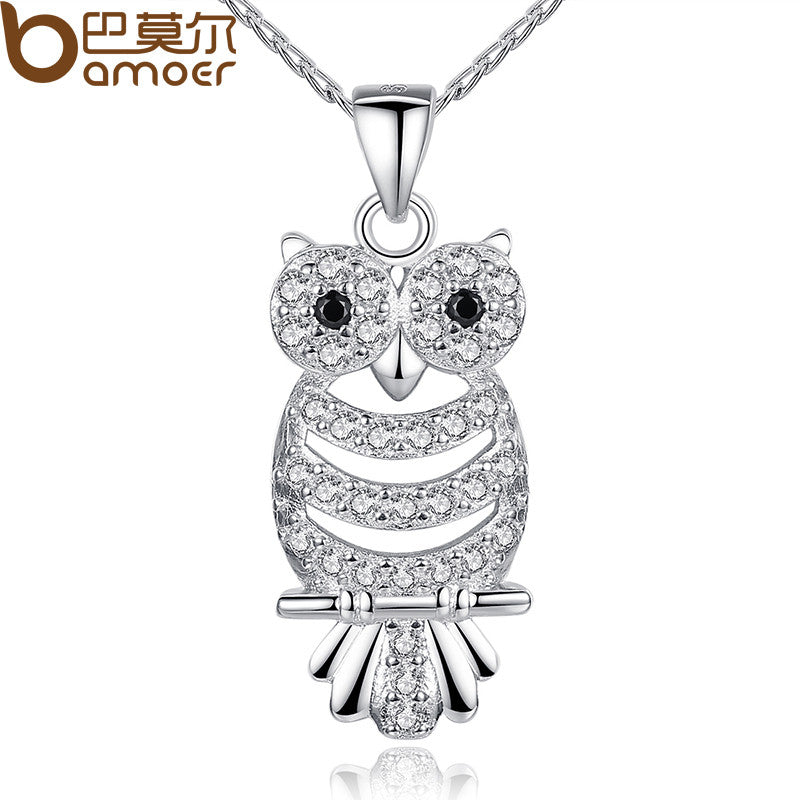 BAMOER Retro Owl Pendant Necklace with AAA Austrian Zircon White Gold Color - All Things Jewelry