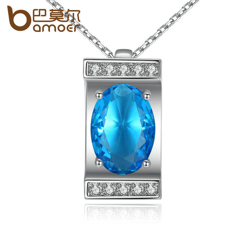 BAMOER Silver Color Oval Cutting Big Blue Stone Pendants Necklaces - All Things Jewelry
