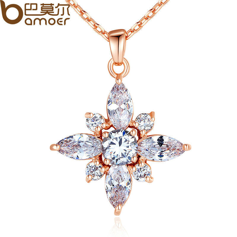BAMOER Brand Luxury Real Rose Gold Color Necklace with AAA White Cubic Zirconia - All Things Jewelry