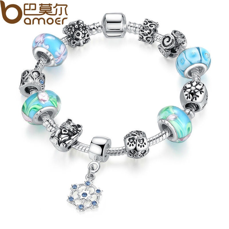 BAMOER Classic Silver Color Strand Charm Bracelet With Blue Beads & Round Pendant - All Things Jewelry