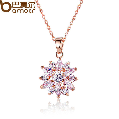 BAMOER  White Gold Color Necklaces Pendants with White AAA Cubic Zirconia - All Things Jewelry