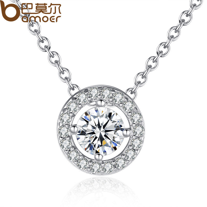 BAMOER Latest Pendant Necklace Elegant for Women With Round CZ Zircon-jewelry 0.6CM - All Things Jewelry