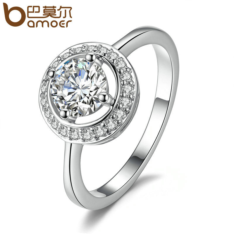 BAMOER Silver Color Full Of Love Ring - All Things Jewelry