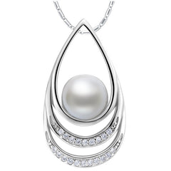 BAMOER  Silver Color Imitation Pearl Necklaces & Pendants with Paved Micro AAA Cubic Zircon - All Things Jewelry