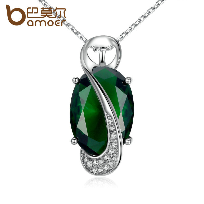 BAMOER 41.5+5CM Chain Green Stone Oval Cutting High Quality Necklaces & Pendants - All Things Jewelry