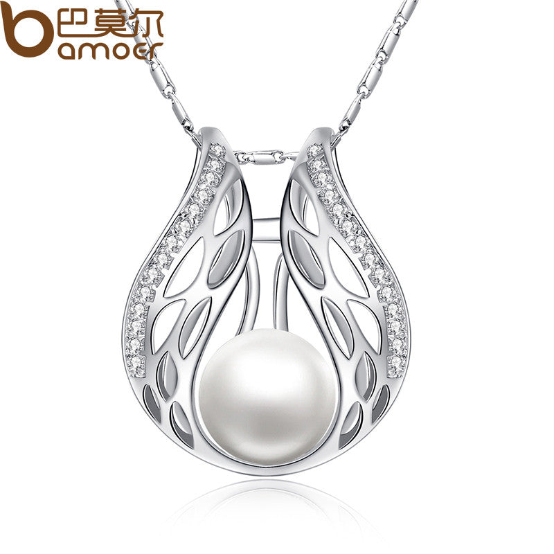 BAMOER  Silver Color Necklaces & Pendants with Paved Micro AAA Cubic Zircon Women Imitation Pearl - All Things Jewelry