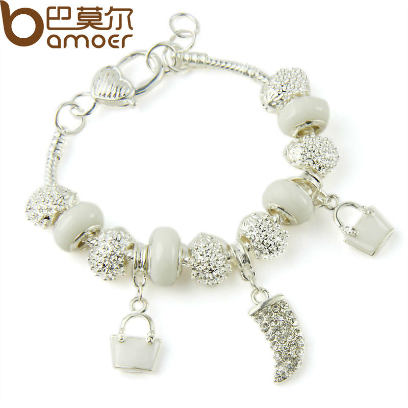 BAMOER Silver Color Crystal Charm Bracelets & Bangles With White Murano Glass Beads - All Things Jewelry