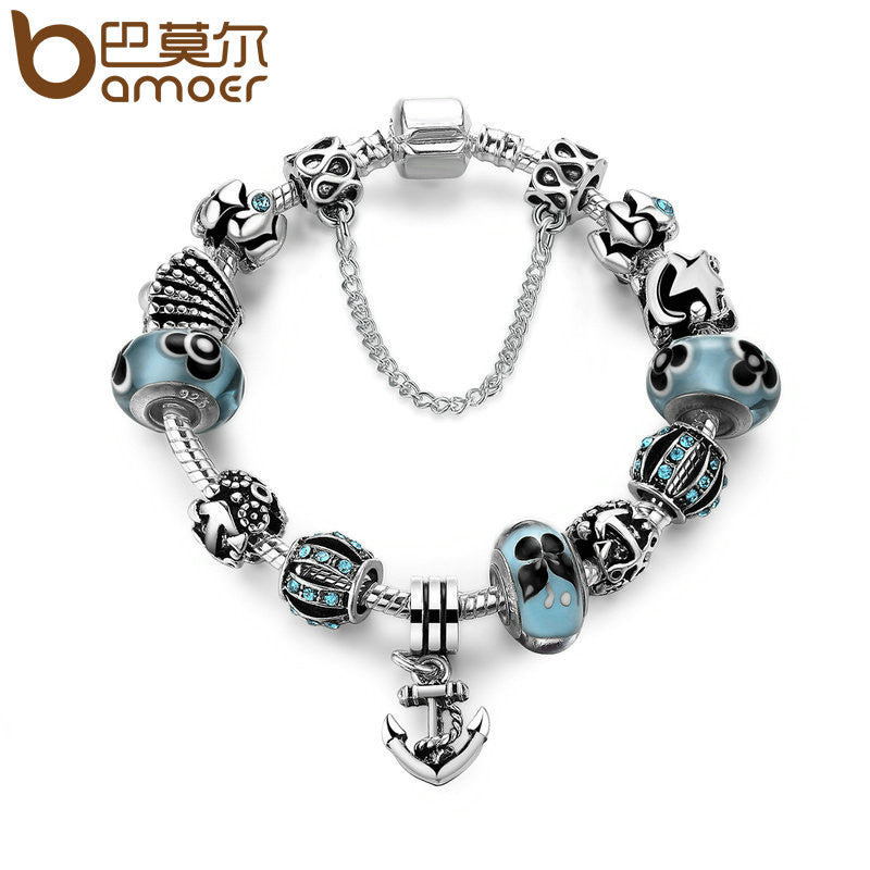 BAMOER Antique Silver Color Anchor Pendant & Safety Chain Flower Beads Shell Charm Bracelet - All Things Jewelry