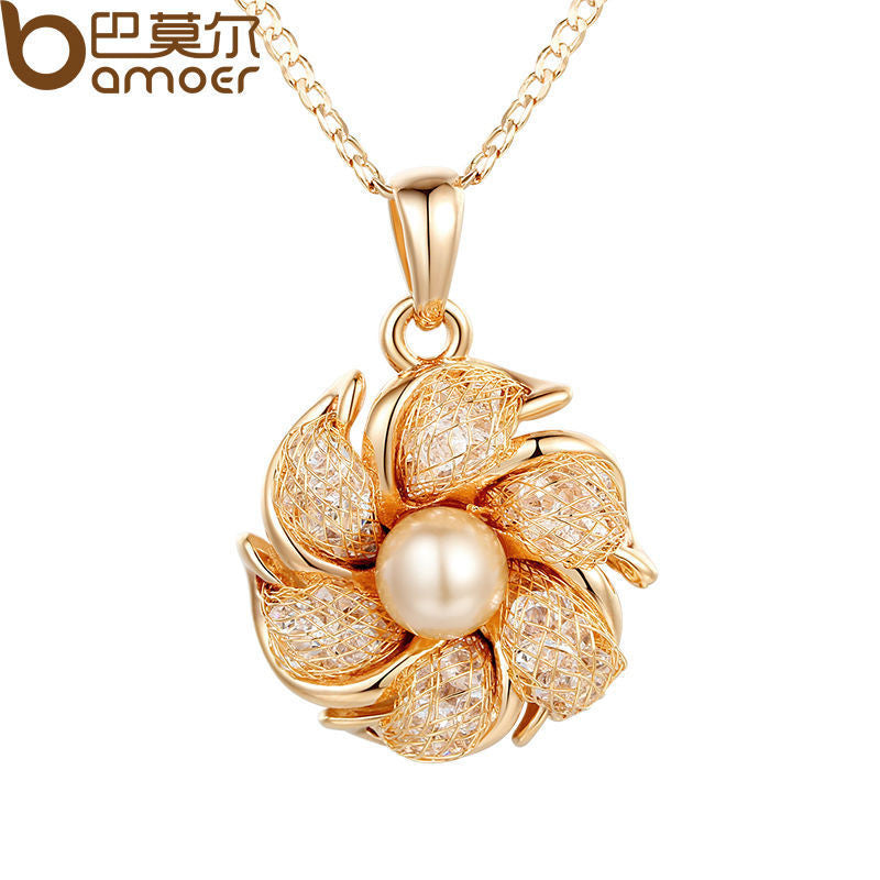 BAMOER Champagne Gold Color Necklaces Pendants Simulated Pearl AAA Cubic Zircon - All Things Jewelry