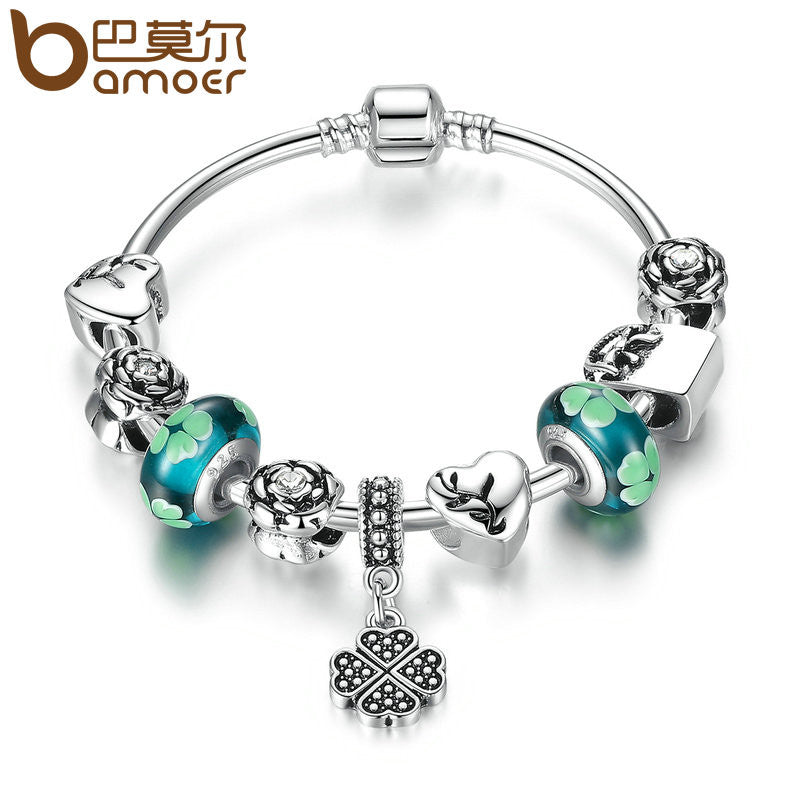 BAMOER Antique Silver Color Heart Pendant & Green Flower Beads Love Charm Bracelet - All Things Jewelry