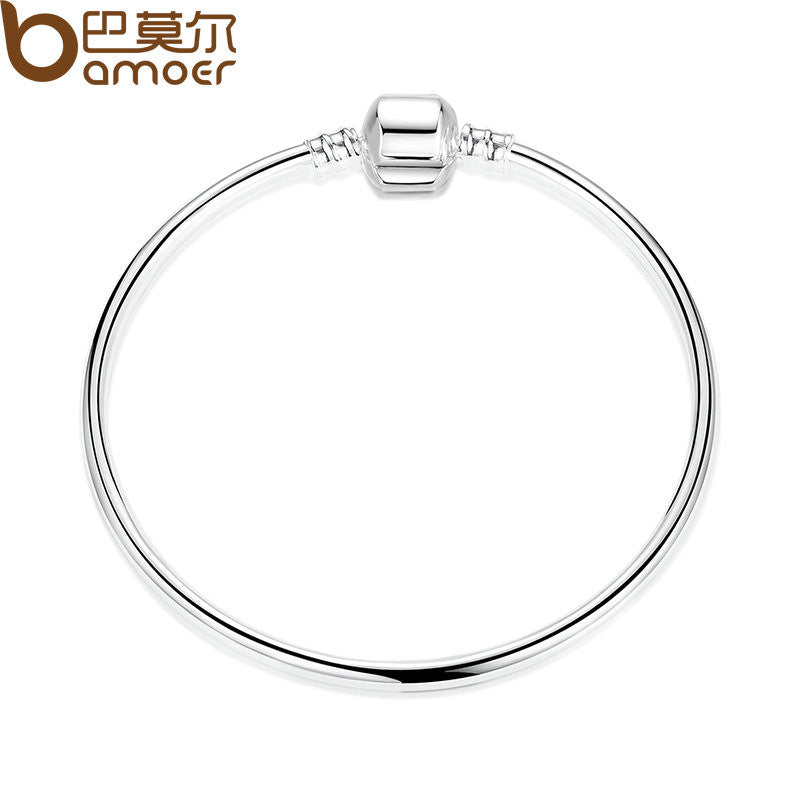 BAMOER Silver Color Good Quality Popular Single Chain Charm Bracelet - All Things Jewelry