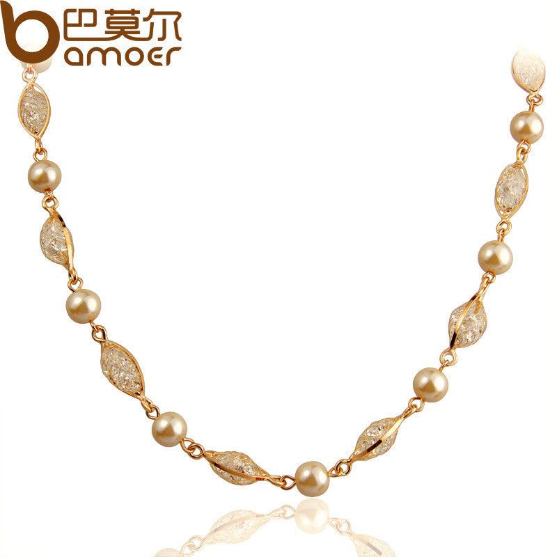 BAMOER Imitation Pearl Chain Necklace For Women Rose Gold Color Zircon Crystal High Quality - All Things Jewelry