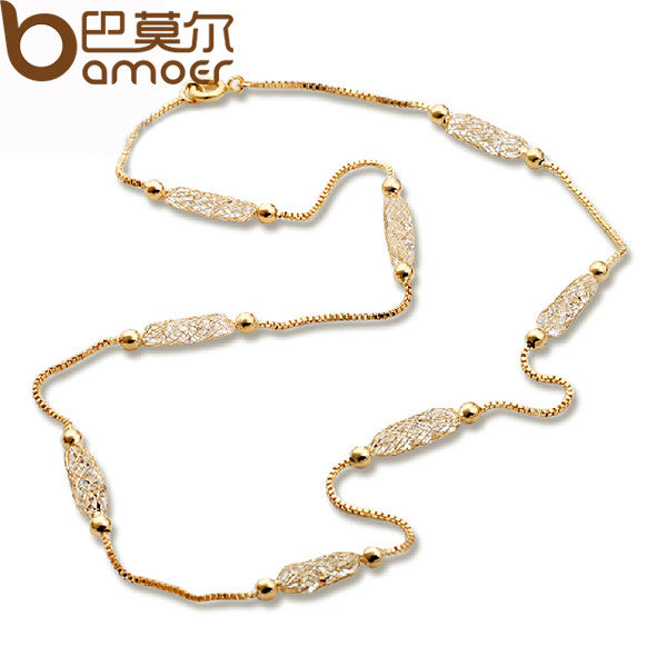 BAMOER Luxury Champagne Gold Color Chain Necklace Zircon Crystal Necklace - All Things Jewelry