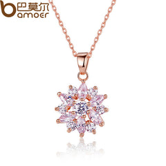 BAMOER Gold Color Flower Necklaces Pendants with High Quality Cubic Zircon - All Things Jewelry