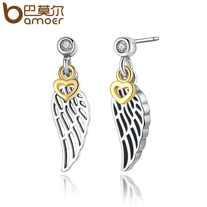 BAMOER Silver Color Feather Wing Heart Pendant Drop Earrings - All Things Jewelry