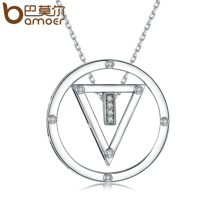BAMOER Silver Color Clear CZ Round & Triangle Pendant Necklaces - All Things Jewelry