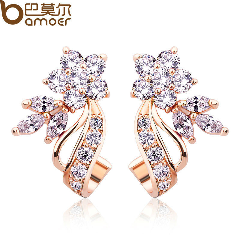 BAMOER Gold Color Stud Earrings with Flower Shape White/Multicolor AAA Zircon - All Things Jewelry