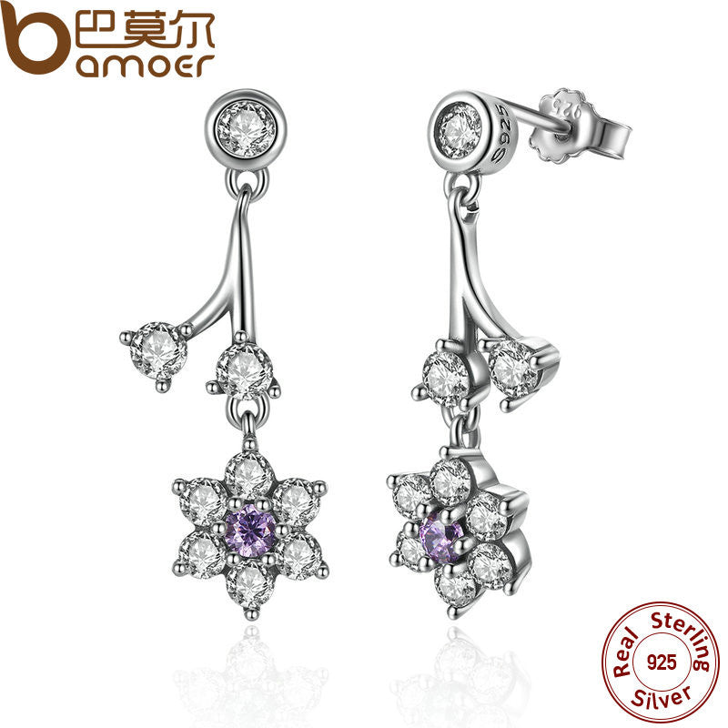 BAMOER 925 Sterling Silver Forget Me Not, Purple & Clear CZ Drop Earrings - All Things Jewelry
