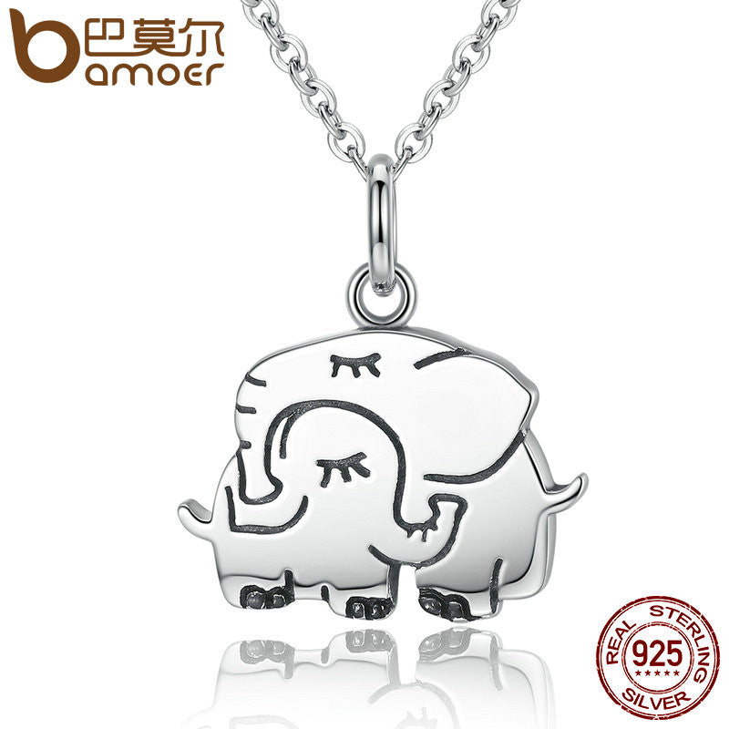 BAMOER 100% 925 Sterling Silver Cute Elephant Hug Pendant Necklace - All Things Jewelry