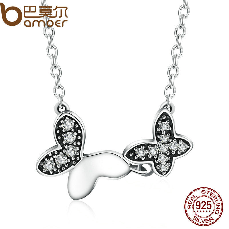 BAMOER 100% Authentic 925 Sterling Silver Dancing Butterfly Clear CZ Pendants Necklace for Women Fashion Jewelry PSN017 - All Things Jewelry