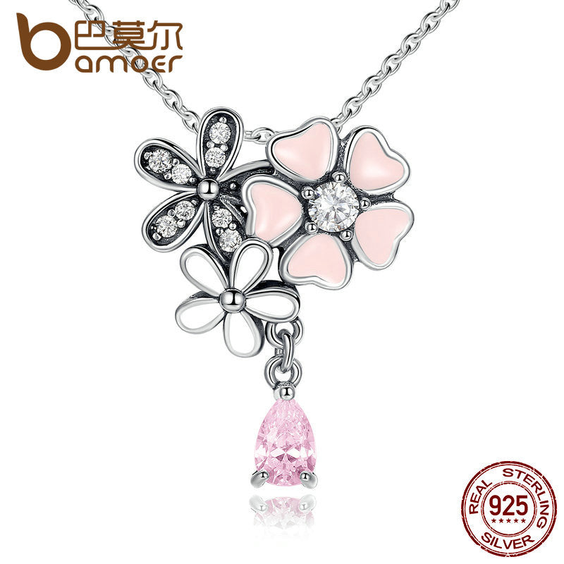 BAMOER 925 Sterling Silver Pink Heart Blossom Cherry Flower 45CM Pendants & Necklaces - All Things Jewelry