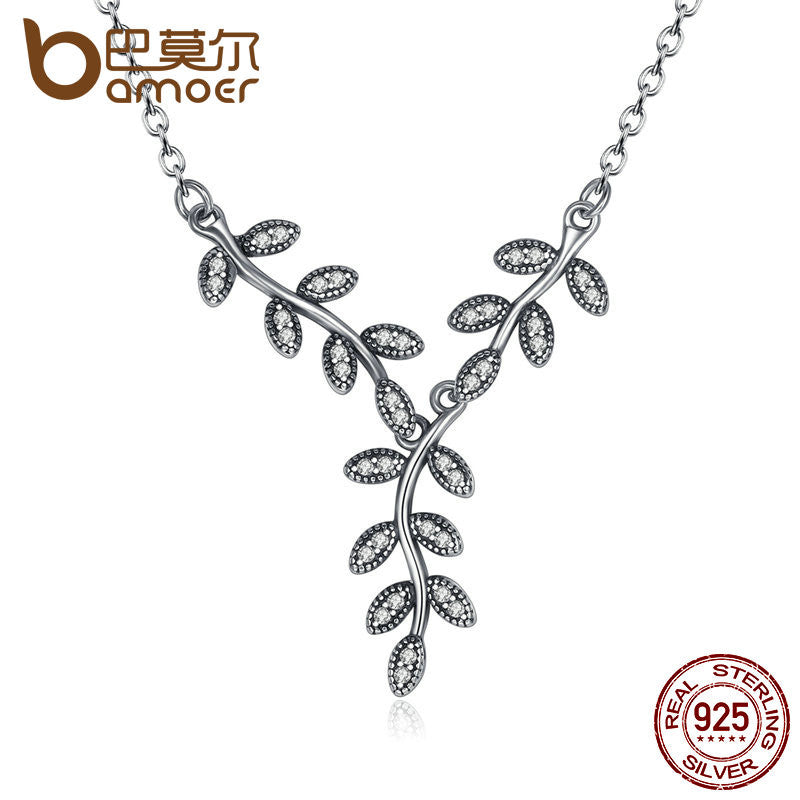BAMOER 925 Sterling Silver Sparkling Leaves Long Pendant Necklace - All Things Jewelry